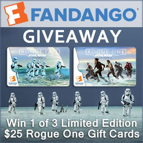 Rogue Gift Card - 25 fandango limited edition rogue one gift card giveaway 3 winners game on mom