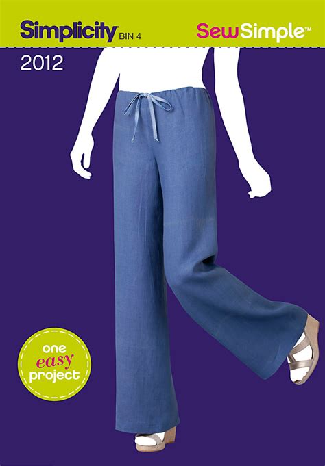 Simple Pattern For Pants | simplicity 2012 sew simple pull on pant sewing pattern