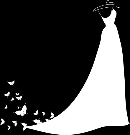 Wedding Font Silhouette by Beautiful Wedding Dress Silhouette Design Vector Free