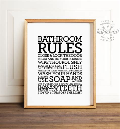 bathroom rules signs bathroom rules sign printable art bathroom decor bathroom