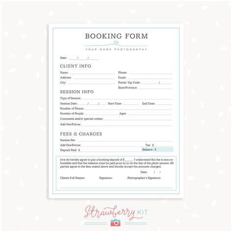 booking form template photography form templates bundle quot simply chic