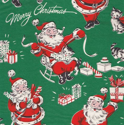 vintage merry christmas gift wrap wrapping paper santa