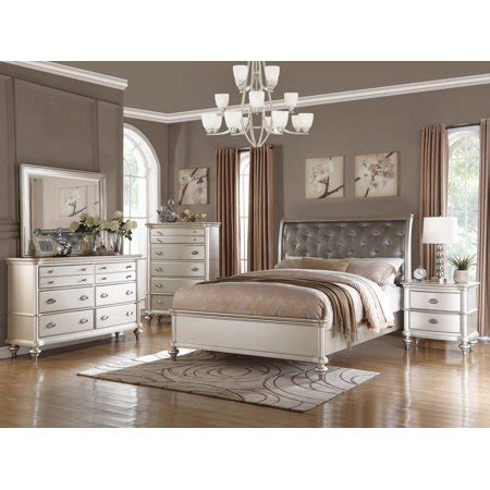 royal antique silver color pc bedroom set california king size bed dresser mirror nightstand