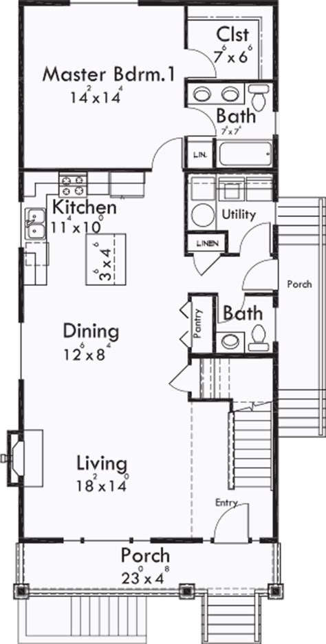narrow lot house plans with basement narrow lot plan with basement apartment two family