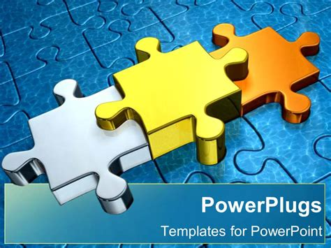 Powerpoint Template Gold Puzzle Pieces As A Metaphor Ppt Puzzle