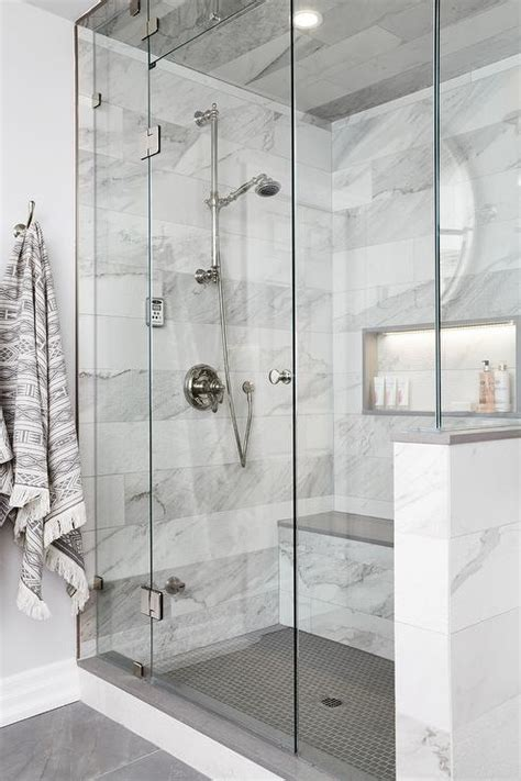 gray  white marble floating shower bench transitional bathroom