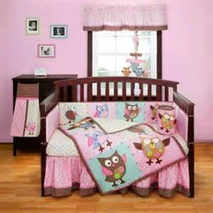 Baby Bedding Set Owl 3pc Pink Blue Colorful Owl Patchwork Designed Baby Crib Bedding Set