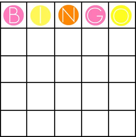 bingo card template free blank bingo cards images