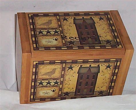folk art home decor wood recipe box bamboo primitive kitchen decor folk art