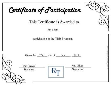 certificate of participation template certificate templates