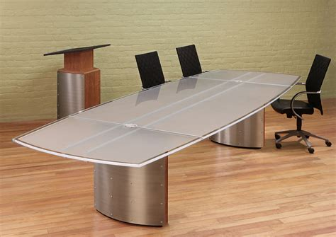 Frosted Glass Conference Table Crescent White Glass Modern Conference Table Stoneline Designs
