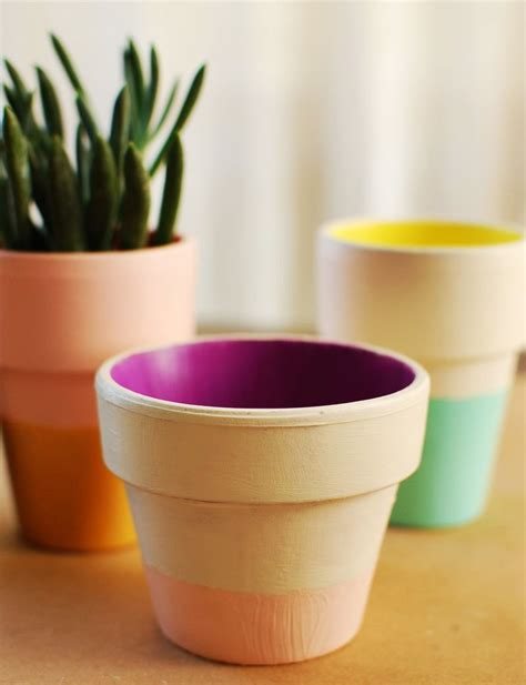 color block terra cotta pots diy a beautiful mess