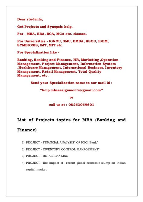 Mba Project Management Business Topics by List Of Projects Topics For Mba Banking And Finance