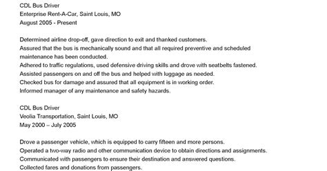 driver resumes cdl bus driver resume sle