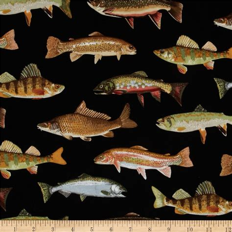 Fish Upholstery Fabric by Timeless Treasures Allover Fish Black Discount Designer Fabric Fabric