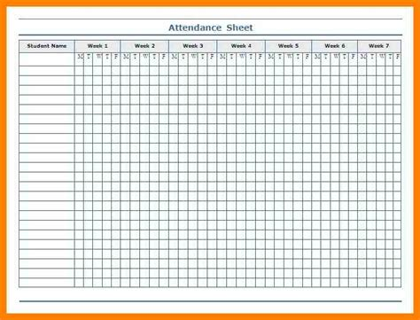 Weekly Attendance Sheet Template by 8 Attendance Format Absence Notes