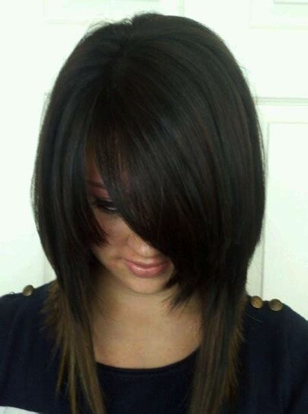 inverted bob with swoop bangs enchanting inverted bob haircuts for mid length hair we