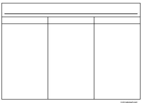 6 best images of printable blank 3 column chart three