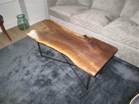 handmade live edge black walnut coffee table by iron boar