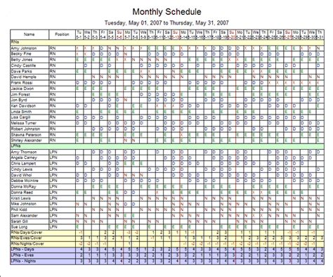 11 excel employee schedule template monthly ledger paper