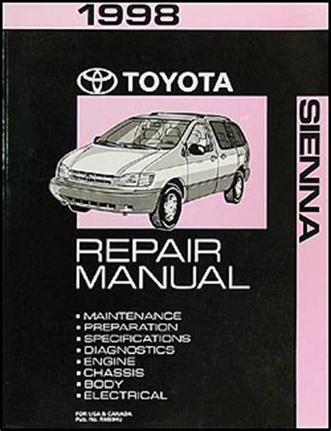 vehicle repair manual 1998 toyota sienna auto manual 1998 toyota sienna repair shop manual original