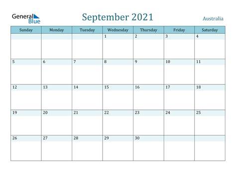 september  calendar australia