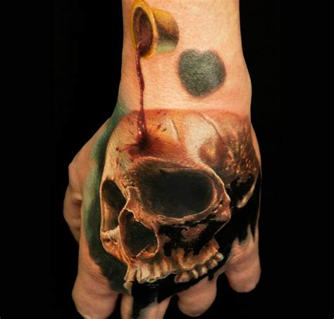 3d tattoo in hand 3d skull on hand by andy engel realistic tattoos pinterest