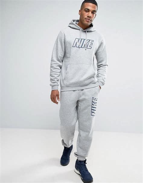 nike tracksuit set with large logo in grey 804306 063 in gray for lyst