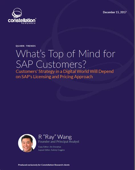 about r ray wang a software insiders point of view research report what s top of mind from sap customers a