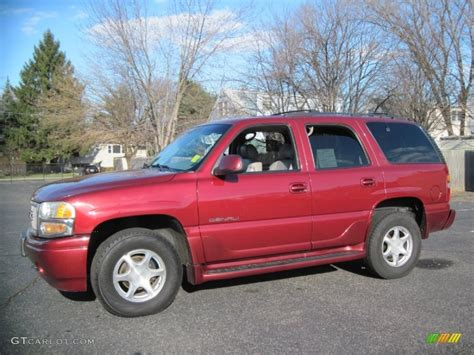 gmc yukon red garnet red metallic 2001 gmc yukon denali awd exterior
