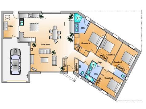 modele maison plain pied 4 chambres modele maison en u exciting modele de maison plans de