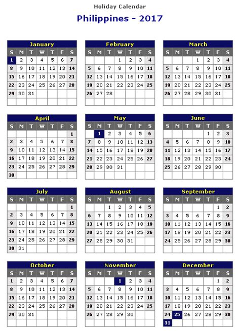 2017 Calendar Philippines   weekly calendar template