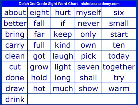 printable word games for 3rd graders sight words 3rd grade list dolch list of sight words 3rd