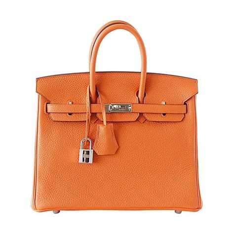 Classic Bag Hermes Birkin by Hermes Birkin 25 Bag Iconic H Orange Treasure Togo