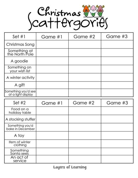 printable christmas table games christmas scattergories layers of learning