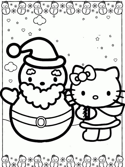 Hello Kitty Santa Coloring Page | hello kitty with snowman santa coloring pages christmas