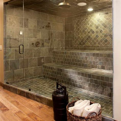 bloombety shower tile designs ideas with rattan basket 5