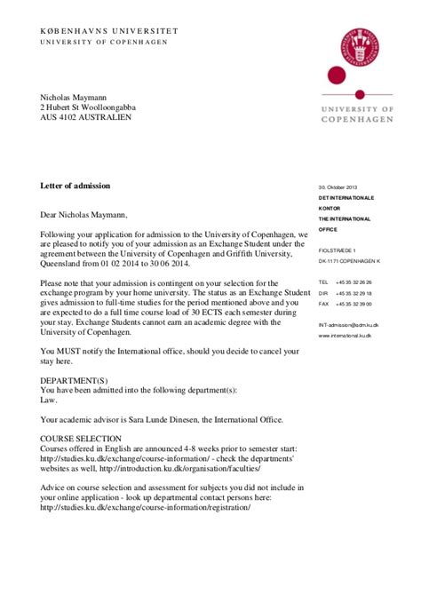 Acceptance Letter For Admission Ku Letter Of Admission