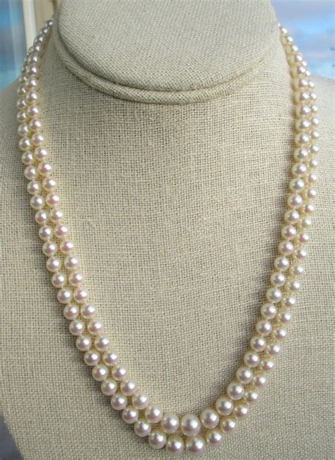 Retro Princess Pear Collar mikimoto strand princess length cultured pearl necklace vintage antiques and