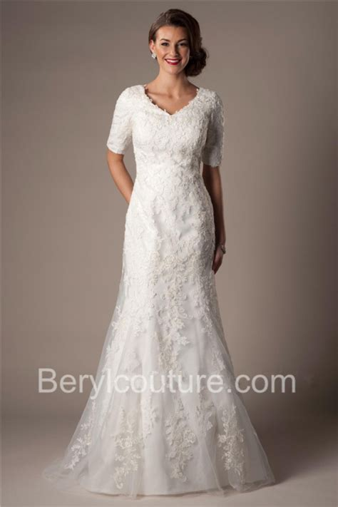 modest lace wedding dresses with sleeves modest trumpet mermaid v neck short lace sleeves wedding
