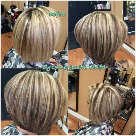 bob hair with high lights and lowlights blonde asymmetrical hair colors ideas