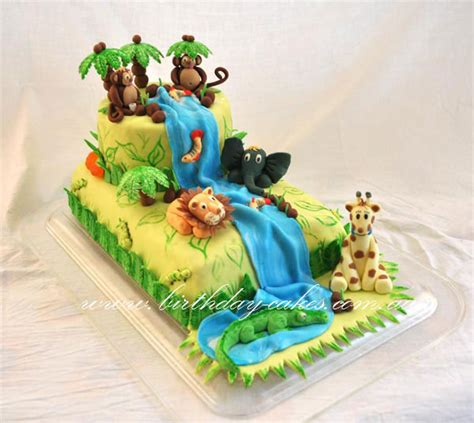 tortas en decoracion en safari jungle birthday cake