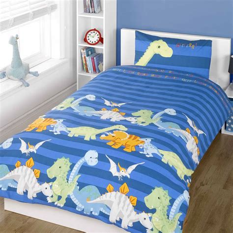 Single Bed Sets For Boys Dinosaur Design Single Duvet Cover Sets Boys Bedding Bedroom Ebay