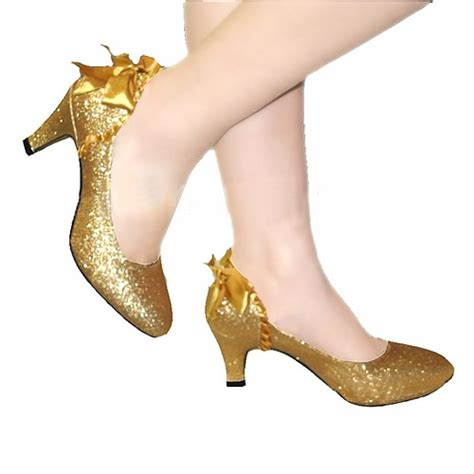 comfortable cocktail shoes gold pu leather comfortable bridal shoe wedding evening