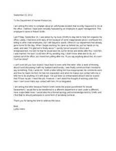 100 15 complaint letters templates sexual harassment letter of complaint hashdoc