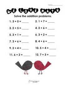 valentine s day math simple addition worksheet