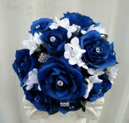 blue wedding bouquet in bloom