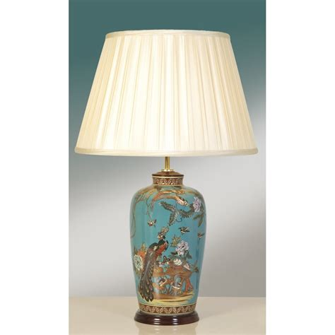 Chandelier With White Shade Table Lamp Chinoiserie Ceramic Oriental Lamp Peacock