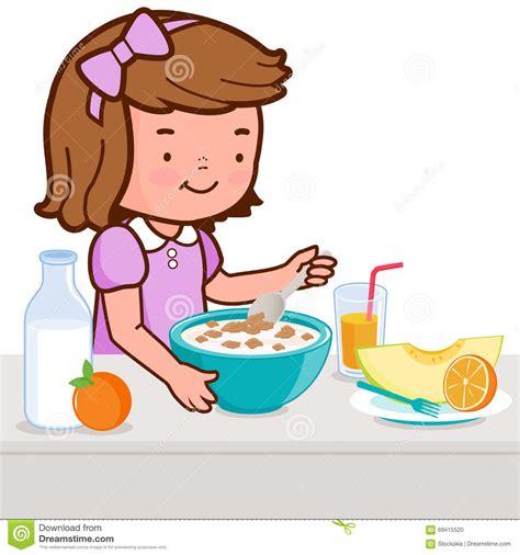 Imagenes Niños Desayunando | ni 241 a que desayuna ilustraci 243 n del vector imagen 69415520