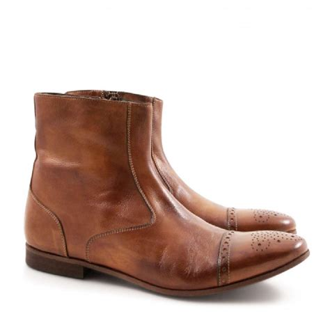 flat booties shoes s perforated toe flat ankle boots in whisky leather